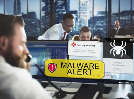 Businessman receiving a malware alert