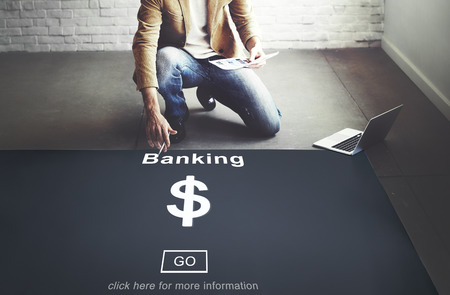 Man pointing at banking concept