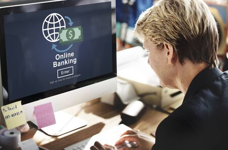 technology transaction: Online Banking Financial Transaction Technology Concept Stock Photo