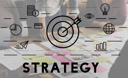 objective: Strategy Target Mission Objective Graphics Concept Stock Photo