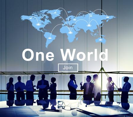 One World Society Globalization Earth Concept Banco de Imagens