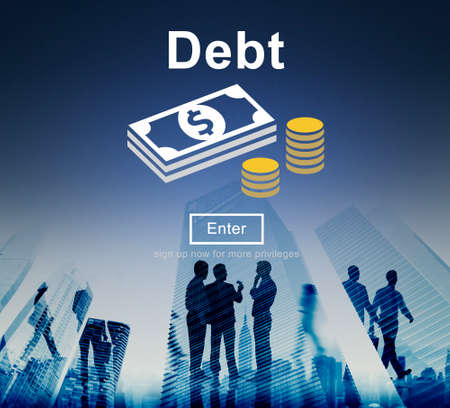 backlit: Debt Loan Credit Money Financial Problem Concept Stock Photo