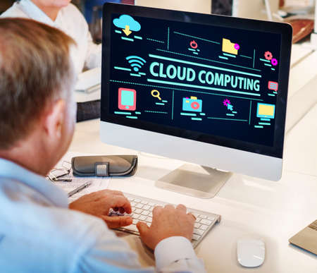 mature adult: Technology Graphic Cloud Computing Word Concept