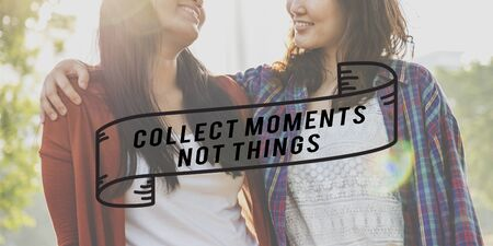 cobrar: Recoger momentos no cosas relaci�n de conceptos Foto de archivo