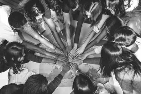 clasped: People Friendship Brainstorming Hand Clasped Teamwork Concept Stock Photo