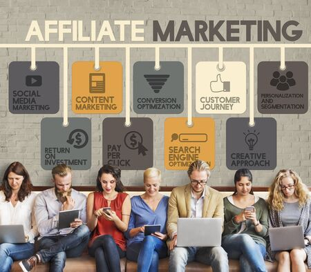 affiliate: Affiliate Marketing Advertising Commercial Concept Stock Photo