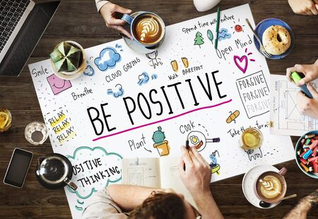 peace plan: Positive Thinking Simple Life Graphic Concept Stock Photo