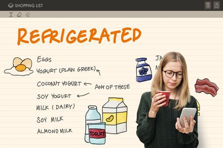 refrigerated: Refrigerated Shopping List Objects Concept Stock Photo