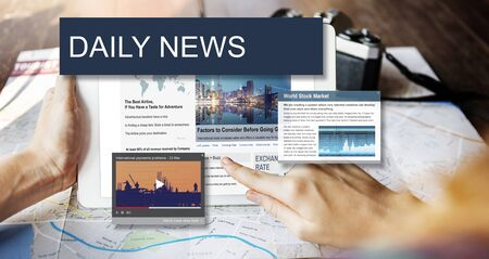 web screen: Media Journalism Global Daily News Content Concept Stock Photo