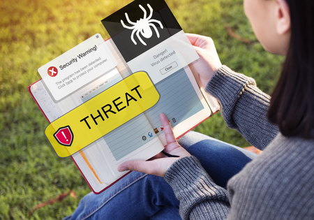 Woman with virus threat concept Stock Photo