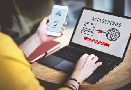 password protection: Access Denied Password Protection Safety System Concept Stock Photo