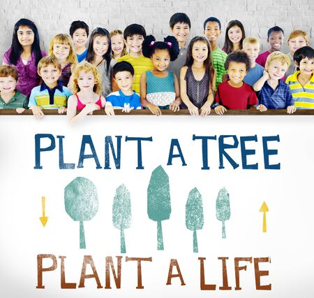 green little planet earth: Plant A Tree Life Ecology Concept Stock Photo