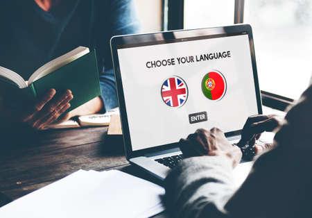spoken: Protugal English Communication Language Concept Stock Photo