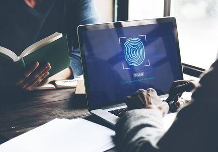 authorization: Fingerprint Scan Biometrics Identify Authorization Concept