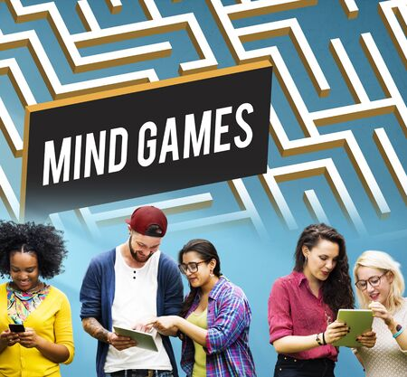 no way out: Mind Games Strategy Maze Solution Concept Stock Photo