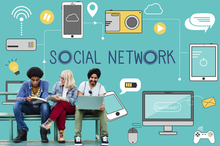 school computer: Social Network Icons Graphics Concept