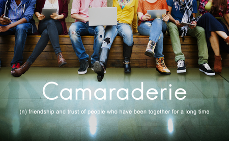 camaraderie: Camaraderie Carefree Chill Friends Togetherness Concept Stock Photo