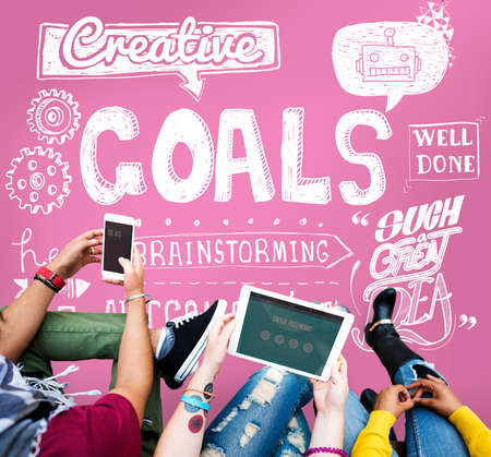 goal oriented: Goals Creative Hopeful Inspiration Sketch Concept Stock Photo