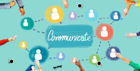 communicate: Comunicar conversaci�n de Connection Discusi�n Concept Foto de archivo