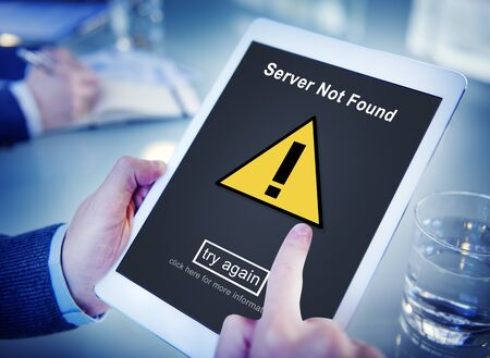 found: Server Not Found Computer Database Network Concept Stock Photo