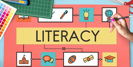 literacy instruction: School Teaching Study Literacy Education Concept Stock Photo