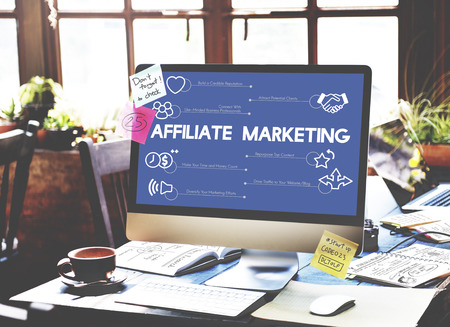 Computer with affiliate marketing Stock Photo