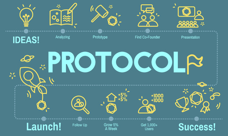protocol: Protocol Networking Data Proper Protection Safety Concept Stock Photo