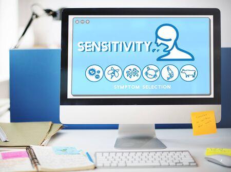 sensitivity: Sensitivity Allergy Disorder Sickness Healthcare Concept