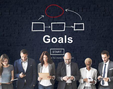 man business oriented: Goals Aim Aspiration Believe Dreams Expectations Concept
