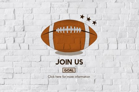 join us: Join Us Football Ball Rugby Game Concept Stock Photo