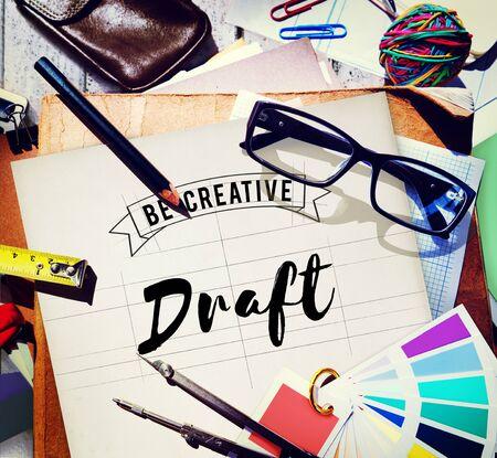 medium group of object: Draft Blueprint Creative Design Drawing Interior Concept