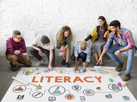 People looking at literacy icons 版權商用圖片