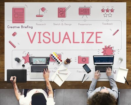 creative design: Design Development Visualize Creativity Concept