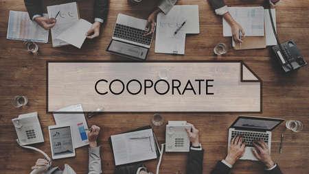 participate: Cooperate Participate Partnership Teamwork Concept