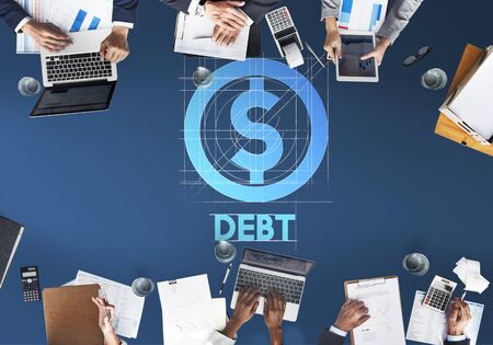 owed: Debt Financial Money Technology Graphic Concept