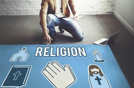 creer: La religión fe crea creencia Religión Rezar Concept Foto de archivo