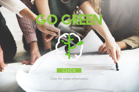 think green: Think Green Go Green Brain Concept Stock Photo