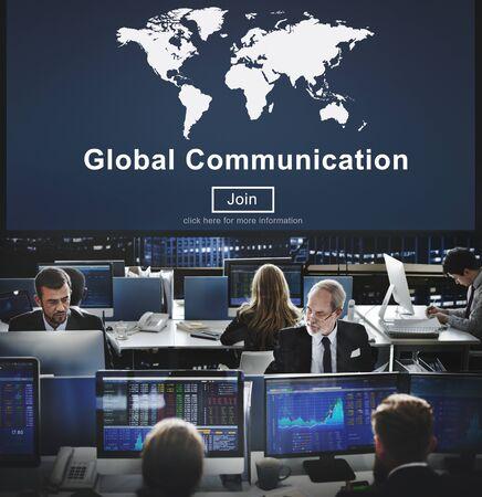 hectic: Global Communication Worldwide Website Homepage Concept Stock Photo