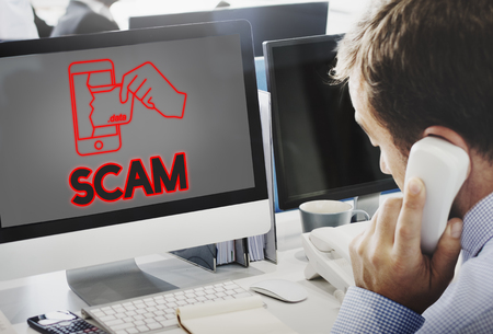 web scam: Online Security Cyber Attack Graphic Concept Stock Photo