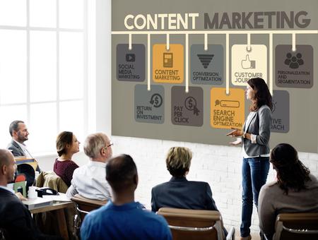コンテンツ マーケティング ブログマーケティング広告コンセプト 写真素材