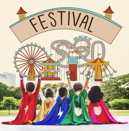 children play area: Festival Activity Fun Happiness Joy Leisure Music Concept Stock Photo