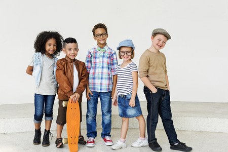 offspring: Child Friends Elementary Age Variation Offspring Concept Stock Photo