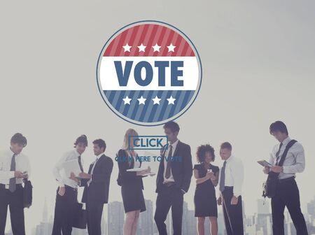 encuestando: Concepto de la elecci�n voto de votaci�n de sondeo Foto de archivo