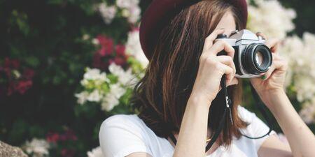 camera girl: Girl Camera Photographer Focus Shooting Nature Concept Stock Photo