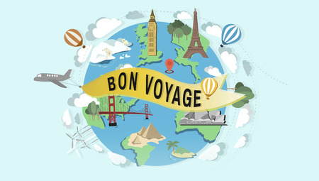 french ethnicity: Bon Voyage Farewell Greeting Journey Travel Trip Concept