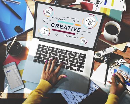Ontwerp van creatieve verbeelding Ideeën Graphic Concept Stockfoto