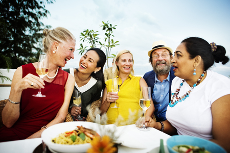 senior adults: Diverse Neighbors Drinking Party Yard Concept