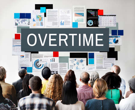working hours: Overtime Stress Working Hours Job Late Career Concept