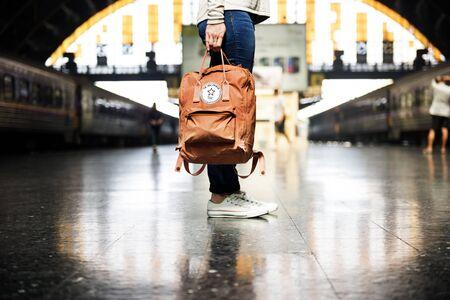 exploring: Backpacker Exploring Destination Casual Relax Concept Stock Photo