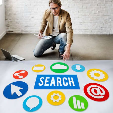 thinking link: Seo Search Engine Optimization Searching Concept Stock Photo